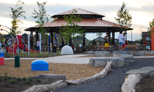 view of the pavilion and playground